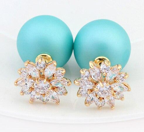 Luxury Daisy Stud Earrings Fine Jewelry Rose Gold Color AAA Cubic Zirconia Double Sided Pearl Statement Earrings For Women
