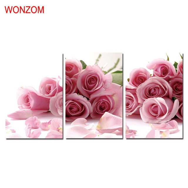 WONZOM HD Printed 3Pcs Pink Roses Wall Pictures Framed Directly To ...