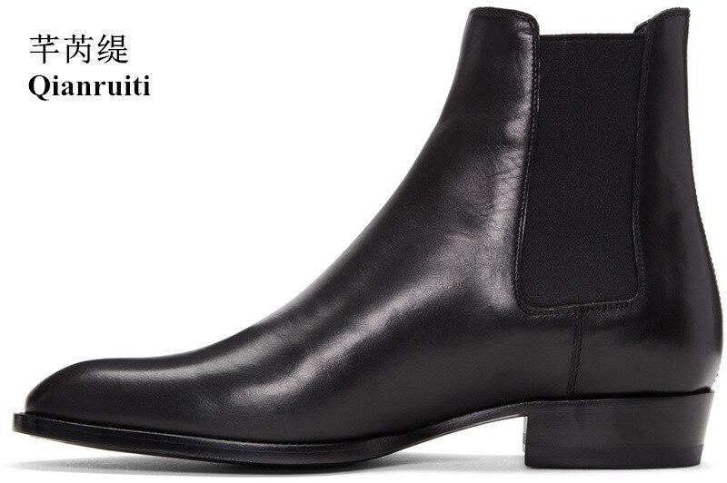 Qianruiti Осень Зима мужская Челси сапоги черные на низком каблуке замшевые британский Стиль Винтаж Западная улица ботинки черный и хаки