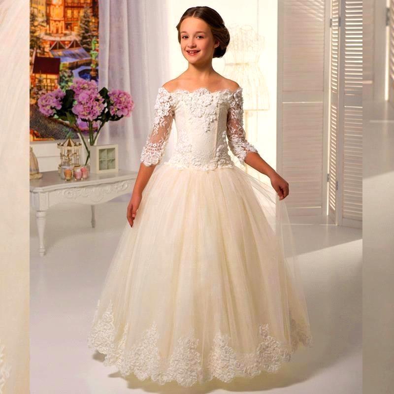 New Wedding Gowns Kids Girls Off The Shoulder Flower Girl Dresses ...