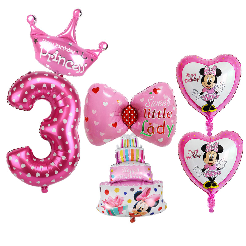 6pcs Kids 3rd Birthday Party Decoration Foil Balloons Number 3 Years Old Cake Shape Balloon Baby Shower Air Set