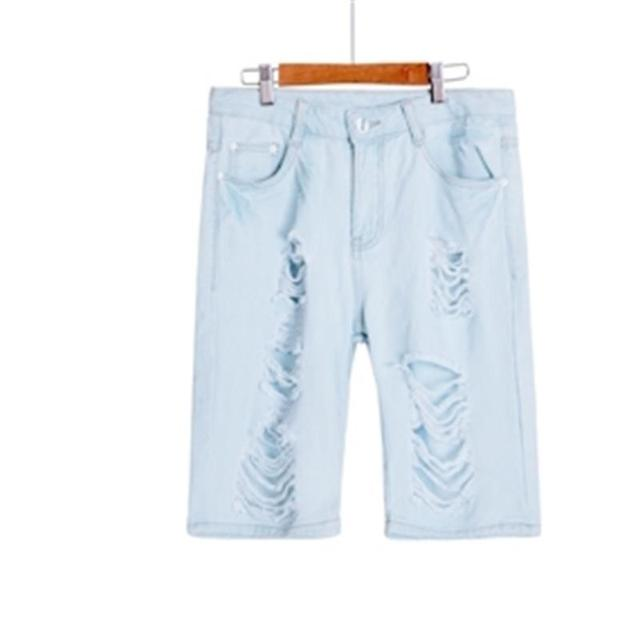 1a4fdb8859 Hot Women's Jeans Short Dog Embroidery Holes Ripped Pockets Knee Length  Denim Shorts