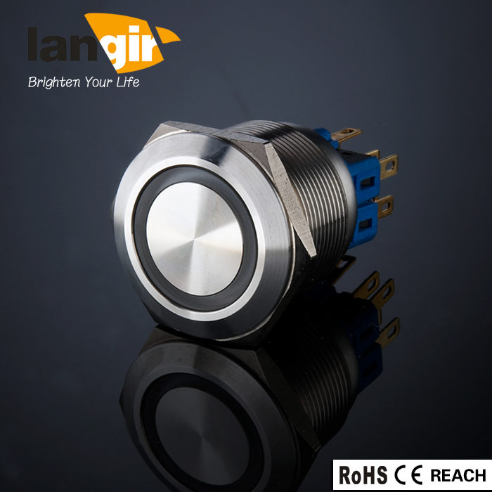 LANGIR Latching 1NO1NC Ring illuminated Pin Terminal Push Button Switch Waterproof Suitable for 25 mm Mounting Hole king ring street album no 1