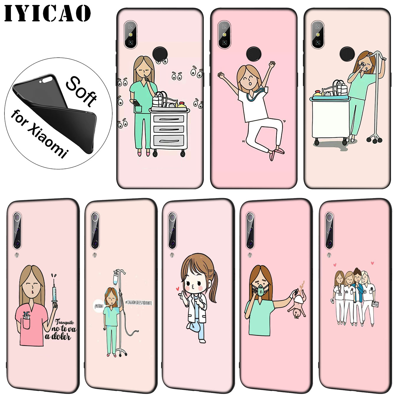 Straightforward Iyicao Cartoon Doctor Nurse Hot Fashion Fun Dynamic Soft Case For Xiaomi Mi 9 8 A2 Lite A1 6 6x Pocophone F1 Max 3 Mi9 Mi8 Mia2 Phone Bags & Cases