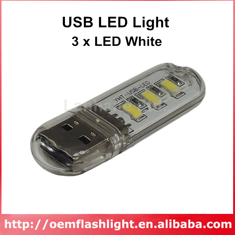 YHT USB Powered 3 X LED White USB LED Light - Transparent (2 Pcs)