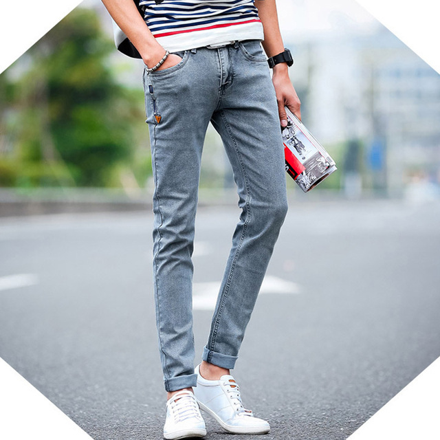 Korean Style Grey Slim Biker Pencil Jeans with Zipper Design