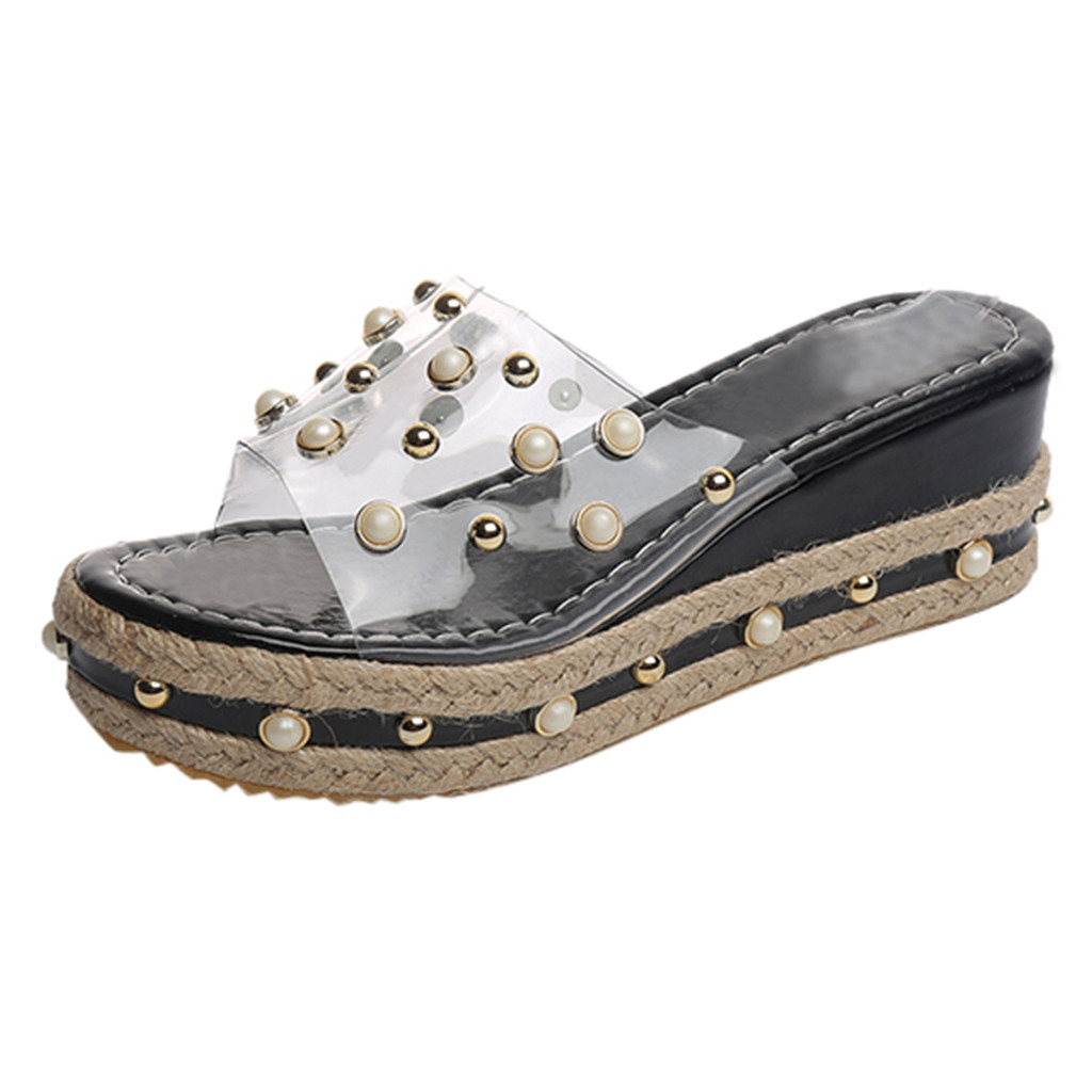 HTB1SOjIaUT1gK0jSZFrq6ANCXXau Fashion Jelly Sandals Summer Candy Slippers Woman Shoes Flats Ladies Womens Zapatos Mujer Slip On Pearl Beach Wedges Jelly Shoe