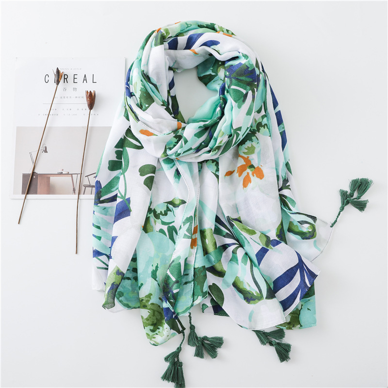 2019 Women Antumn Winter Tassel Scarf Spain Brand Green Floral Viscose Scarves Wrap Snood Pashmina Shawls Hijab Muslim Cachecol