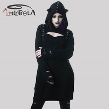 ImilyBela Gothic Long Sleeve Mini Dress Black Hollow Out Hooded Knitted Broken Hole Sexy Punk Style Autumn Vestidos Rivet