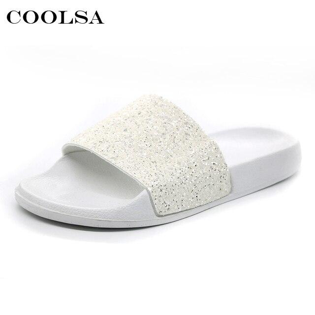 74292a62a5749 COOLSA New Summer Women s Slippers PU Bling Bling Slides Flat Soft ...