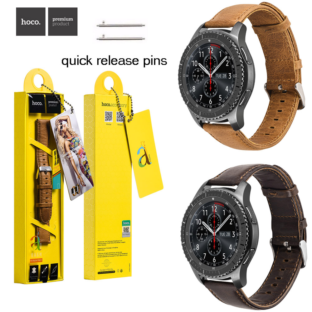 Galleria fotografica HOCO 22mm Brown Coffee Genuine Leather Wrist Strap for Samsung Galaxy Gear S3 Frontier / Classic Watch Band w Quick Release Pins