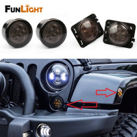 Smoke Lens Yellow LED Front Replacement Turn Signal Light Fender Side Marker Light Assembly For 2007