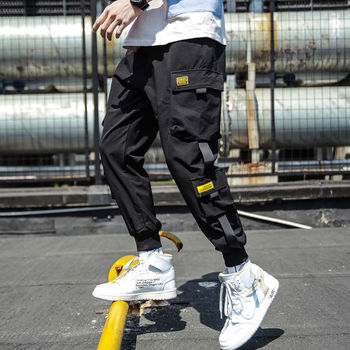 Spring Hip Hop Joggers Men Black Harem Pants Multi-pocket Ribbons M-3XL