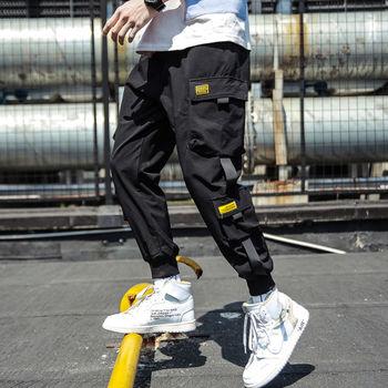2019 wiosna joggersy hip hopowe męskie czarne spodnie Harem multi-pocket wstążki męskie spodnie dresowe Streetwear Casual męskie spodnie M-3XL tanie i dobre opinie Acacia Person Harem spodnie Poliester Elastan COTTON Midweight Pants 27 - 36 Pełnej długości Mężczyźni REGULAR Suknem