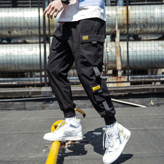 2020 Spring Hip Hop Joggers Men Black Harem Pants Multi-pocket Ribbons Man Sweatpants Streetwear Casual Mens Pants M-3XL 41