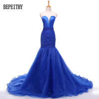 Hot Sale Evening Dresses Sweetheart Beading Red Mermaid Organza Weddings Events Formal Gown Robe De Soiree
