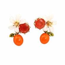 Warmhome Lovely Jewelry Enamel Glaze Copper Cute Naturally Orange Blossom Flower Red Gem For Women Earrings