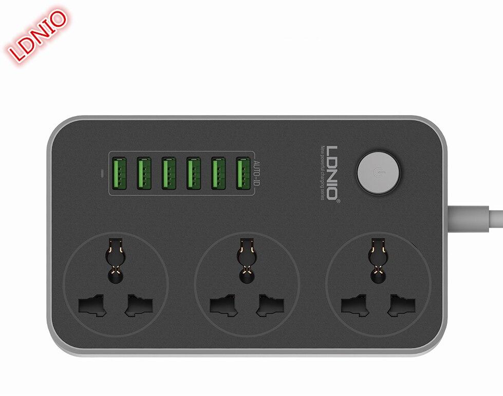 LDNIO SC3604 10A regleta 6 USB 3 enchufe Universal con Protector de sobrecarga disyuntor interruptor salida ampliar
