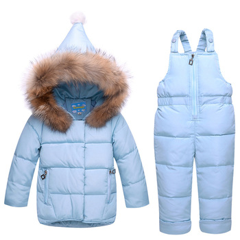 Russia Winter Children Clothing Snowsuit Set Baby Girls Boys White Duck Down Jacket+Jumpsuit Sets Kids Ski Suit Overalls