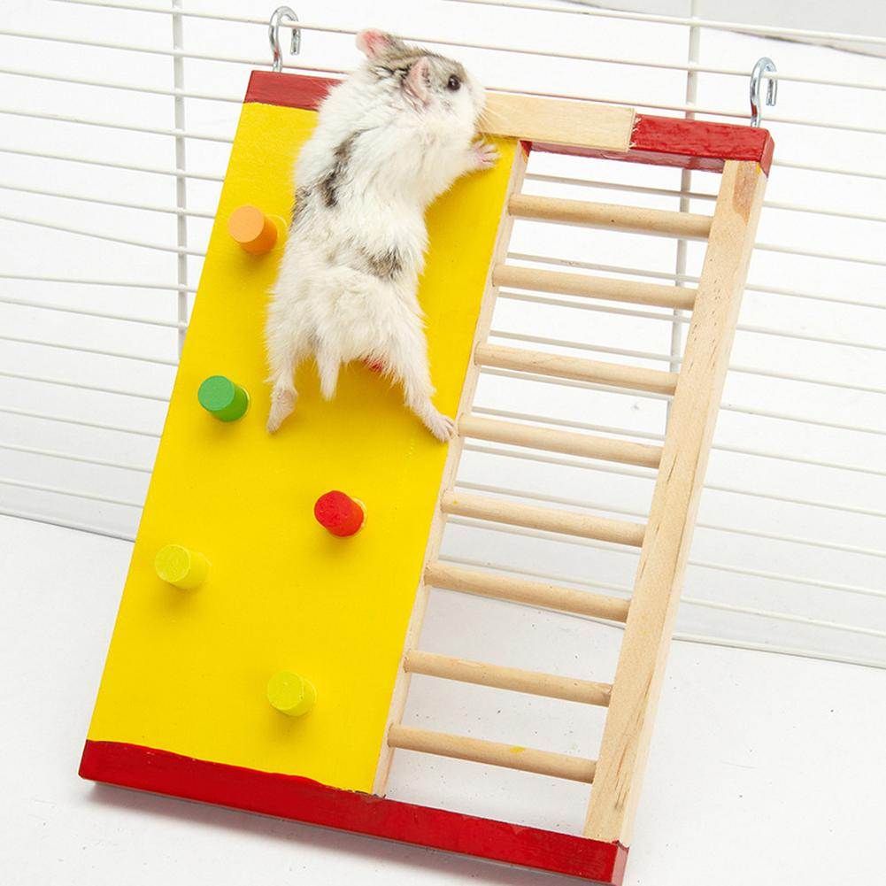 2019 New 1 Pcs Natural Wooden Hamster Climbing Ladder Hamster Accessories Hamster Climbling Toy Small Pet Funning Accessories