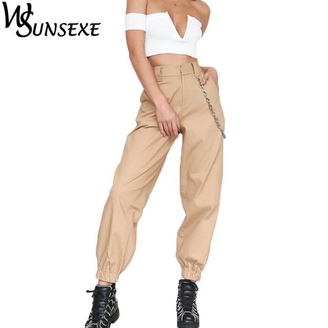 4e64931ad6ab3 Streetwear Cargo Pants Women Cool Khaki Solid Color Waist Chain Decoration  Elastic Feet Female Fashion Autumn Zipper Trousers