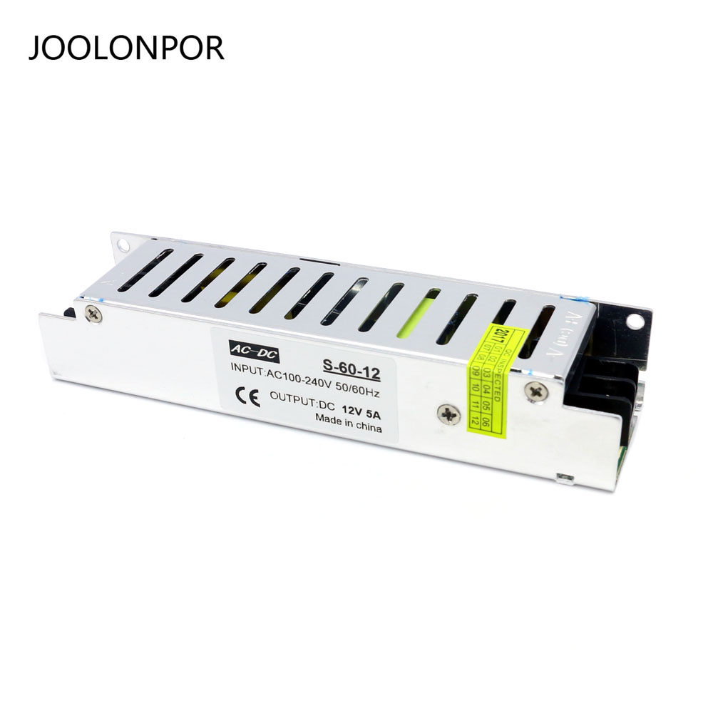 JOOLONPOR Lighting Transformer for Ac 100-240V to Dc 12V 5A 60W Mini Size Switching Power Supply Module AC-DC ac dc ac dc for those about to rock we salute you lp