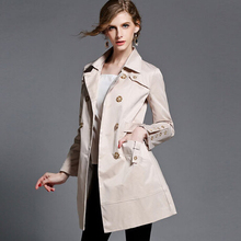 2016 spring coat long trench coat women plus size outerwear slim women's double breasted trench