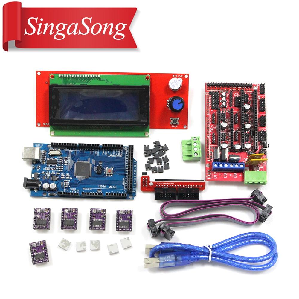 3D Printer kit 1pcs Mega 2560 R3 + 1pcs RAMPS 1.4 Controller+ 5pcs DRV8825 Stepper Motor Drive + 1pcs LCD 2004 controller mks gen v1 4 controller board integrated ramps 1 4 and mega 2560 mainboard drv8825 stepper motor drive usb cable for 3d printer