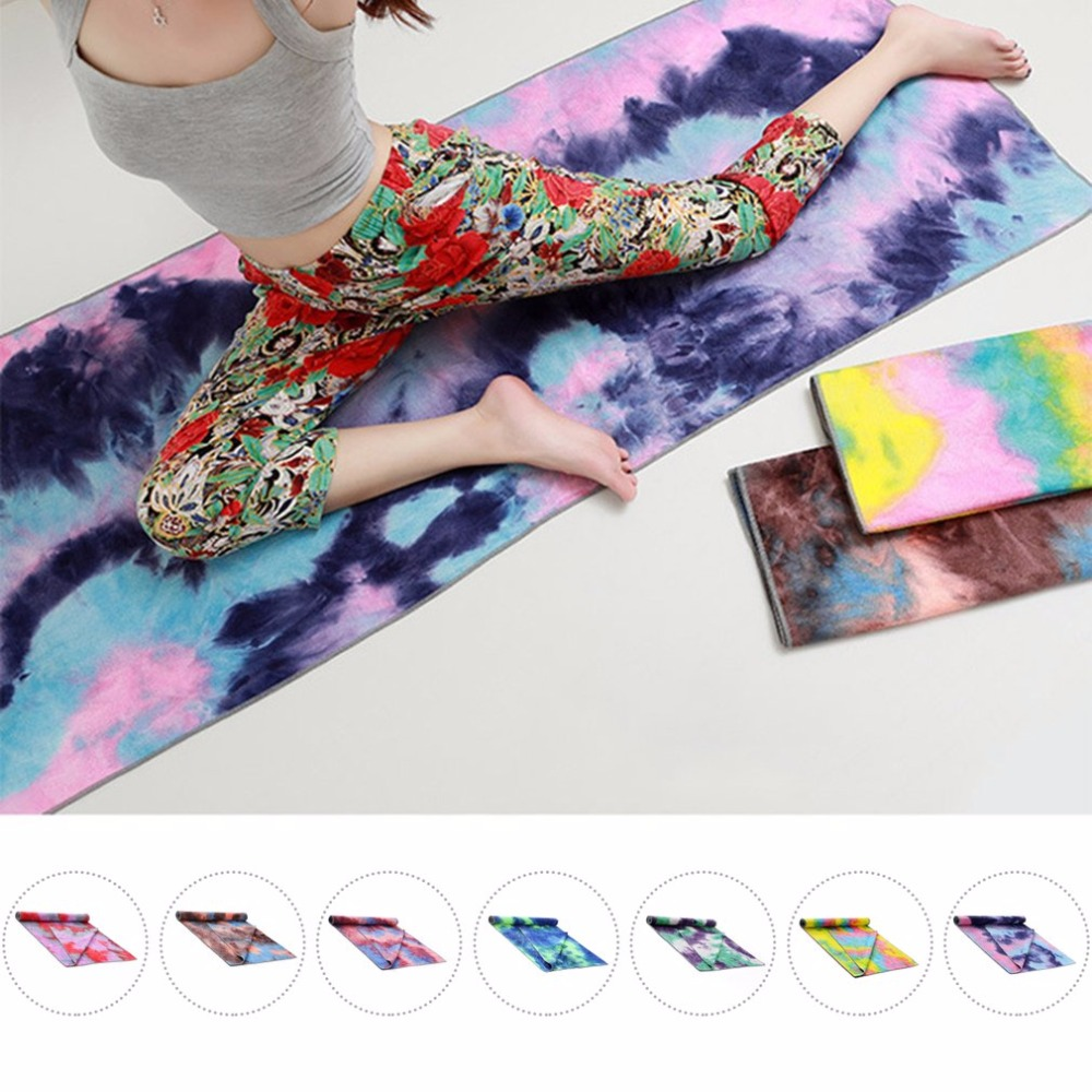 Unique Tie Die Printing Rectangle Yoga Mat Non Slip Sports Fitness Towel Blanket with Net Bag Slimming Product
