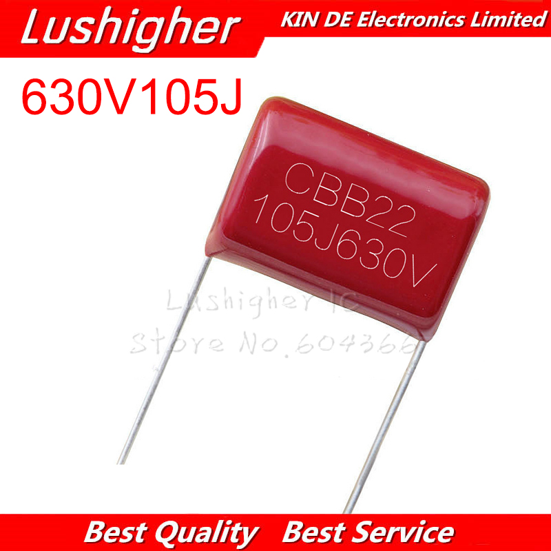10PCS 630V105J 630V 1UF 105J Pitch 20mm 105J630V CBB Polypropylene Film Capacitor
