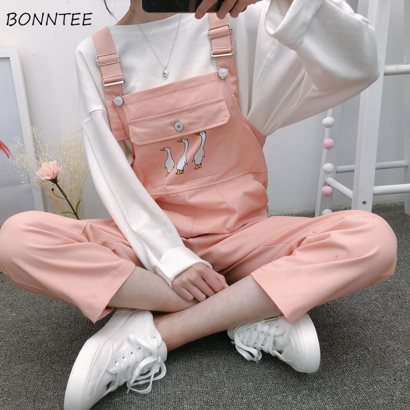 Jumpsuits Women Popular Strap Playsuits Students Korean Style Womens New BF Slim Cartoon Kawaii Pocket Ankle-Length Leisure Chic