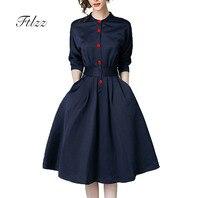 Новые весенне-осенние винтажные платья женские тонкие 3/4 рукав ТРАПЕЦИЕВИДНОЕ офисное платье элегантные женские офисные платья Ol