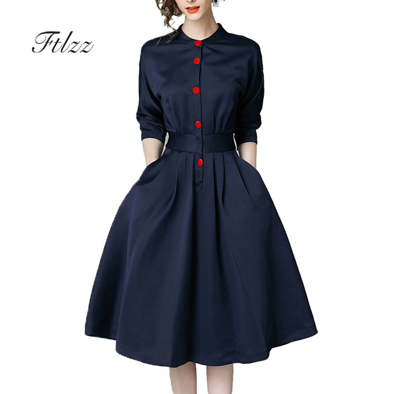 New Spring Autumn Vintage Dresses Women Slim 3/4 Sleeve A Line Office Wear Dress Elegant Laides Ol Work Business Dresses