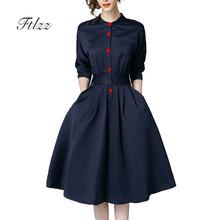 New Spring Autumn Vintage Dresses Women Slim 3 4 Sleeve A Line Office Wear Dress Elegant