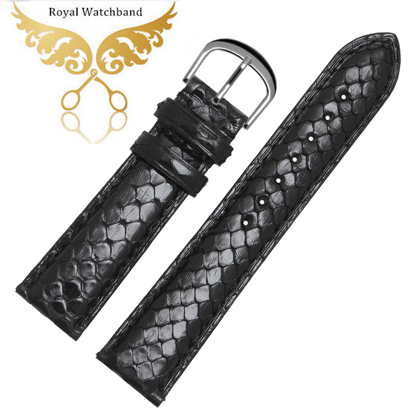 New 18mm 19mm 20mm 21mm 22mm Black Genuine PYTHON Skin Leather Watch band Strap Bracelets Free Shipping black 20 millimeters genuine lizard skin watch strap