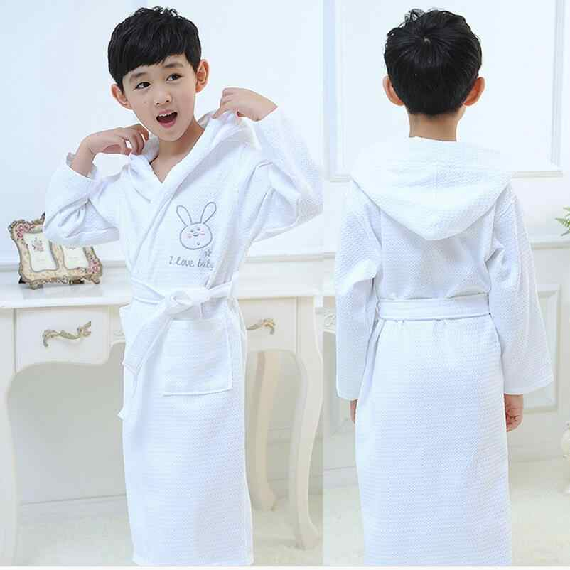 74a8a23383 kids white cotton bathrobe boy hooded poncho towel pink bathrobe for girls  roupao blue loose long