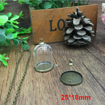 free ship!20set/lot 25*18mm Glass Bubble vial glass dome with base blank with top cap with 70cm neck