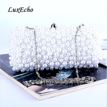 Pearl Beaded dinner bag Fashion handmade Beading hand bags  Evening bags bag wholesale party purse Day clutches Chain should bag все цены