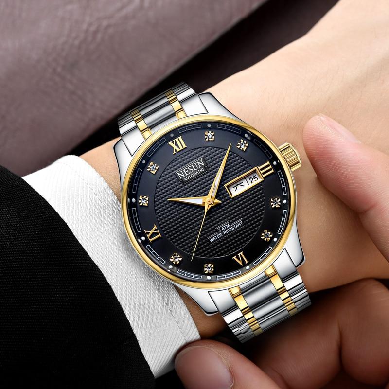 лучшая цена 2018 New Fashion Men Watch Waterproof Week Calendar Rhinestone Stainless Steel Business Automatic Watch Men Watch Male Clock