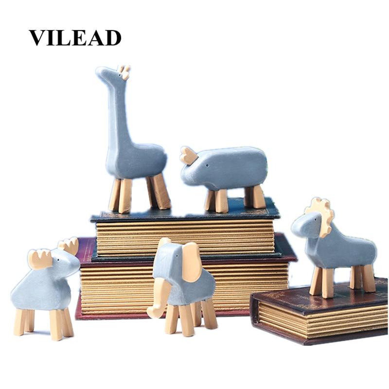 VILEAD Resin Cartoon Forest Animals Figurines Creative European Giraffe Rhino Elephant Elk Lion Adornment Home Decoration Crafts