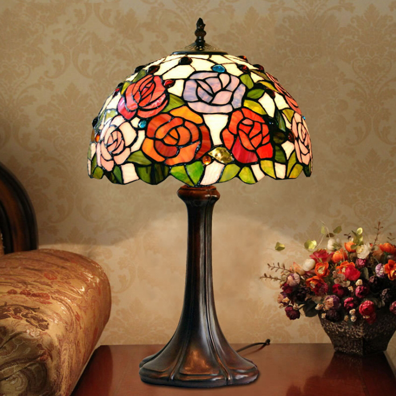 Stained Glass Rose Flower Wedding Marriage Living Drawing Room Art Deco LED Bedside Desk Table Lamp Light Study Reading Lighting писатель и самоубийство в 2 х томах с о page 1