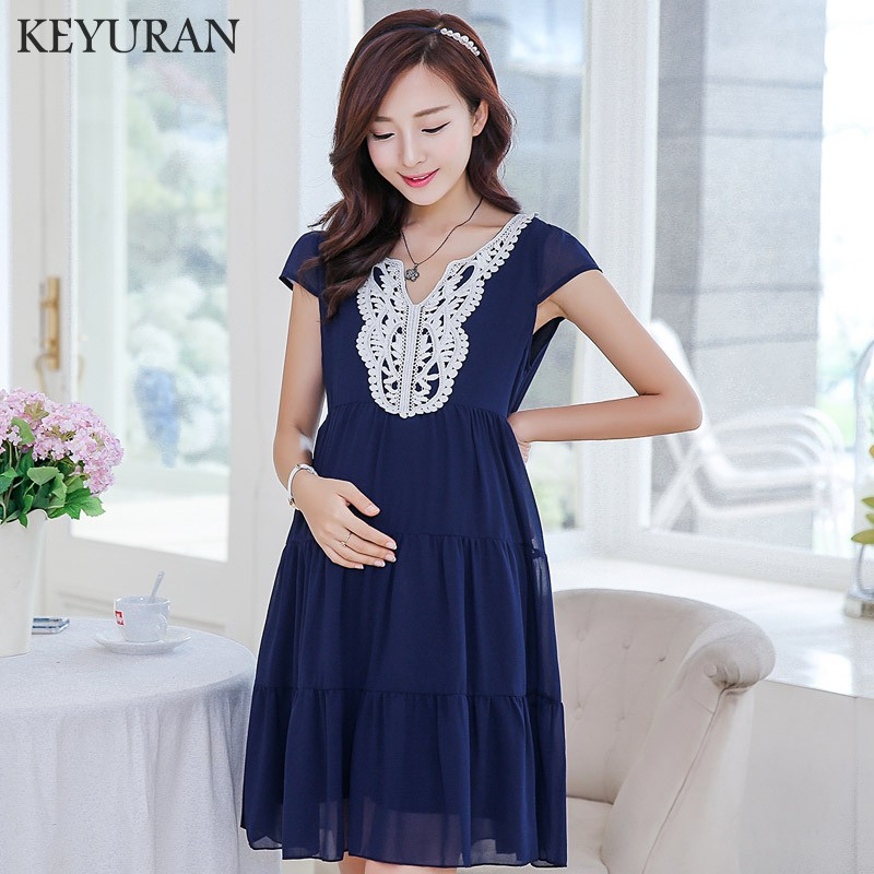 2018 Spring And Summer New Pregnant Women Short Sleeve Lace Chiffon Dress Maternity Elegant A-Line Shirts Party Dresses Y121