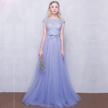 Elegant Prom Dresses Vestido De Festa Longo Lace Appliques Beaded Tops Tulle Party Dress Custom Made(China)