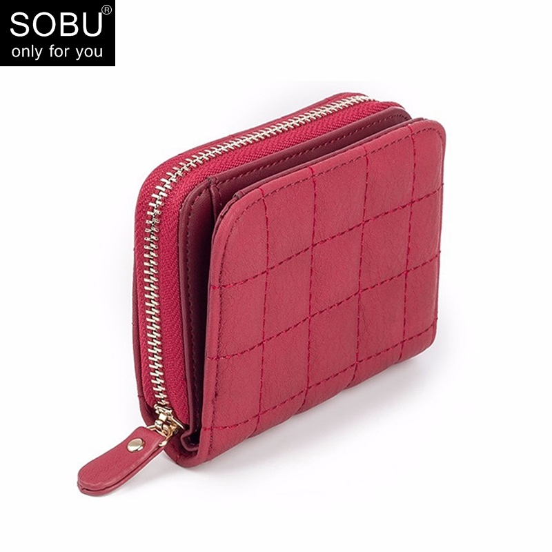 New Women Short Wallets PU Leather Plaid Purses Nubuck Card Holder Wallet Fashion Woman Small Zipper Wallet With Coin Purse N076