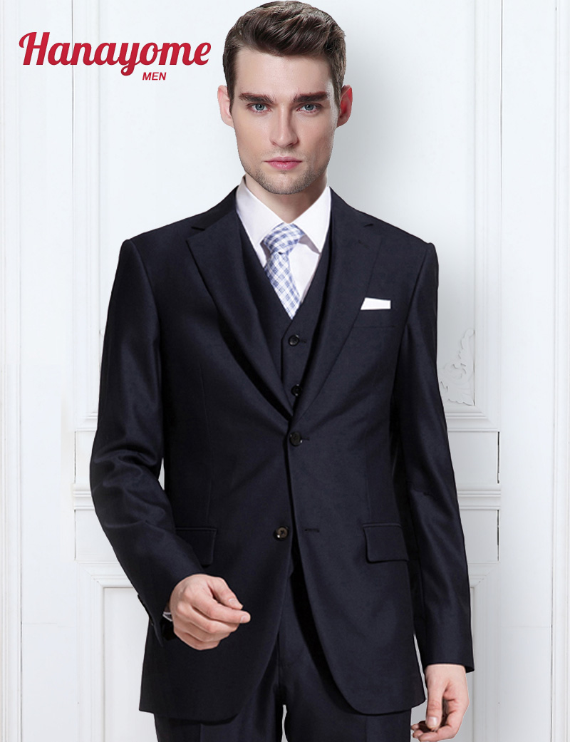 Online Shop Black Suit Men Men\'s New 3 Pieces Custom Prom Suit ...