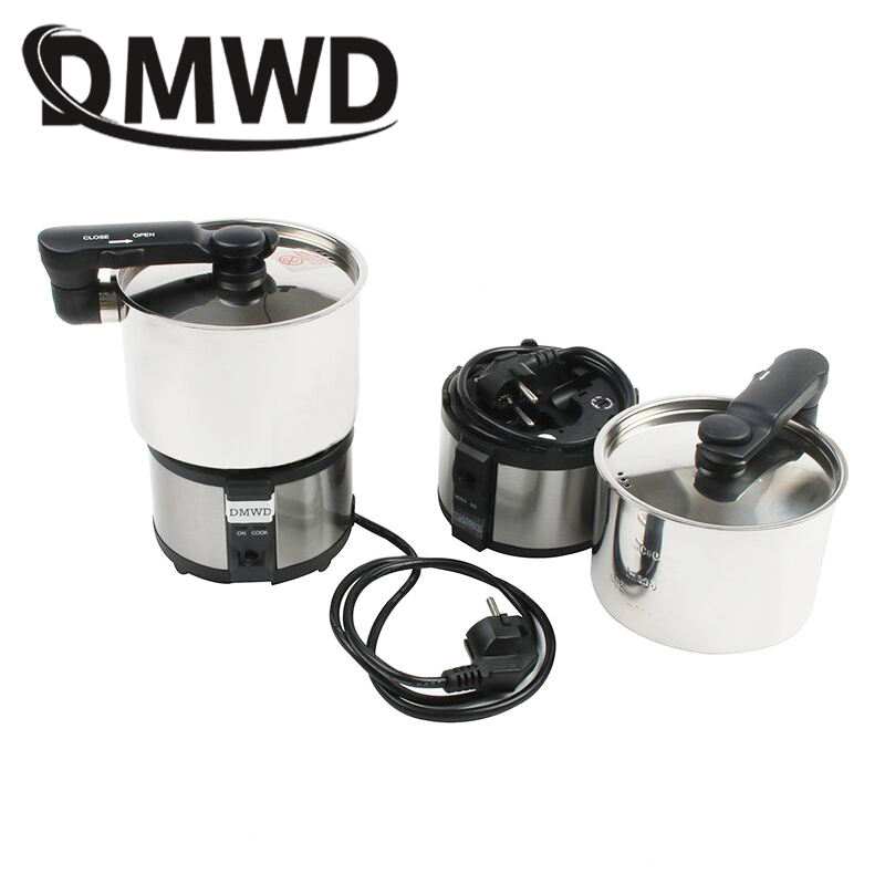DMWD Mini electric rice cooker food steamer small portable stainless steel pot frying pan travel Soup cooking skillet 110V 220V multifunctional cooking pot soup pot steamer with stainless steel steamer diameter 20cm for electromagnetic furnace gas stove