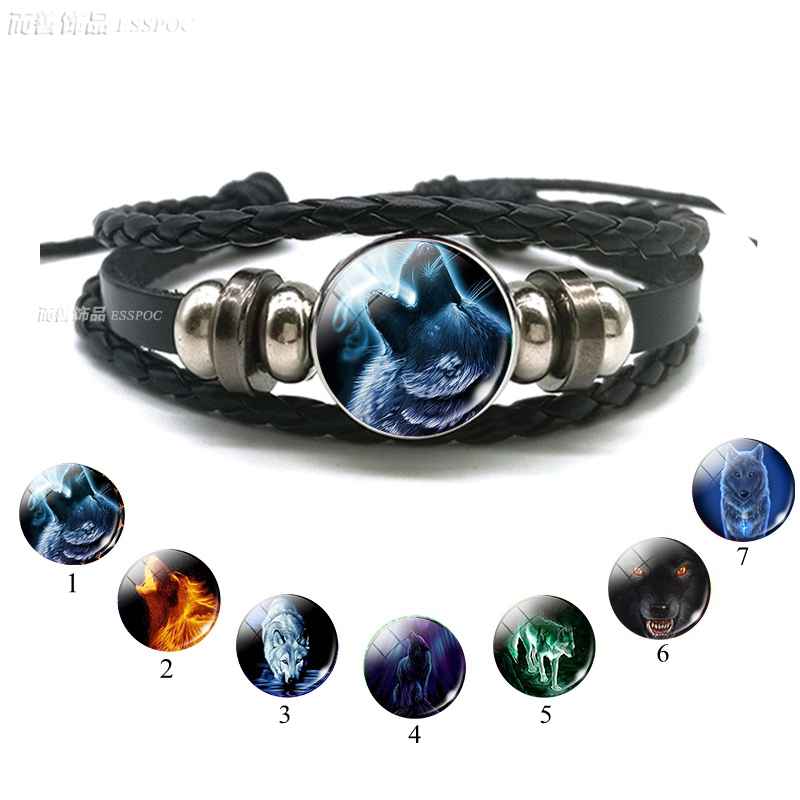 Wolf Head Glass Cabochon Button Men Fashion Multilayer Leather Bracelet Wolf Moon Jewelry