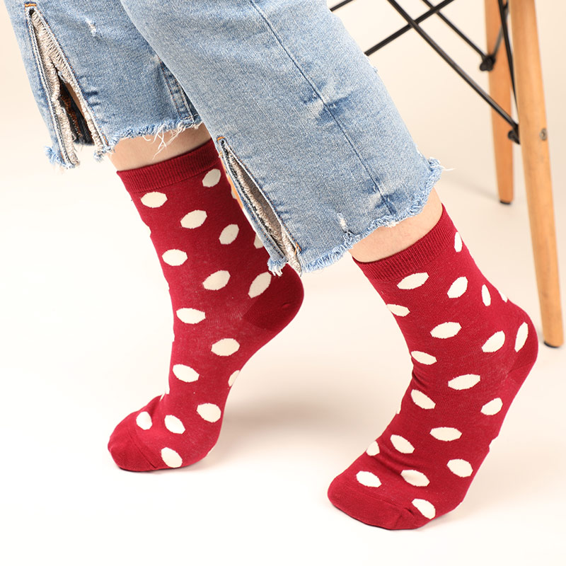 Colour crew cotton cute happy socks men womens short with Dot style casual harajuku designer art female art for couple funny in Socks from Underwear Sleepwears