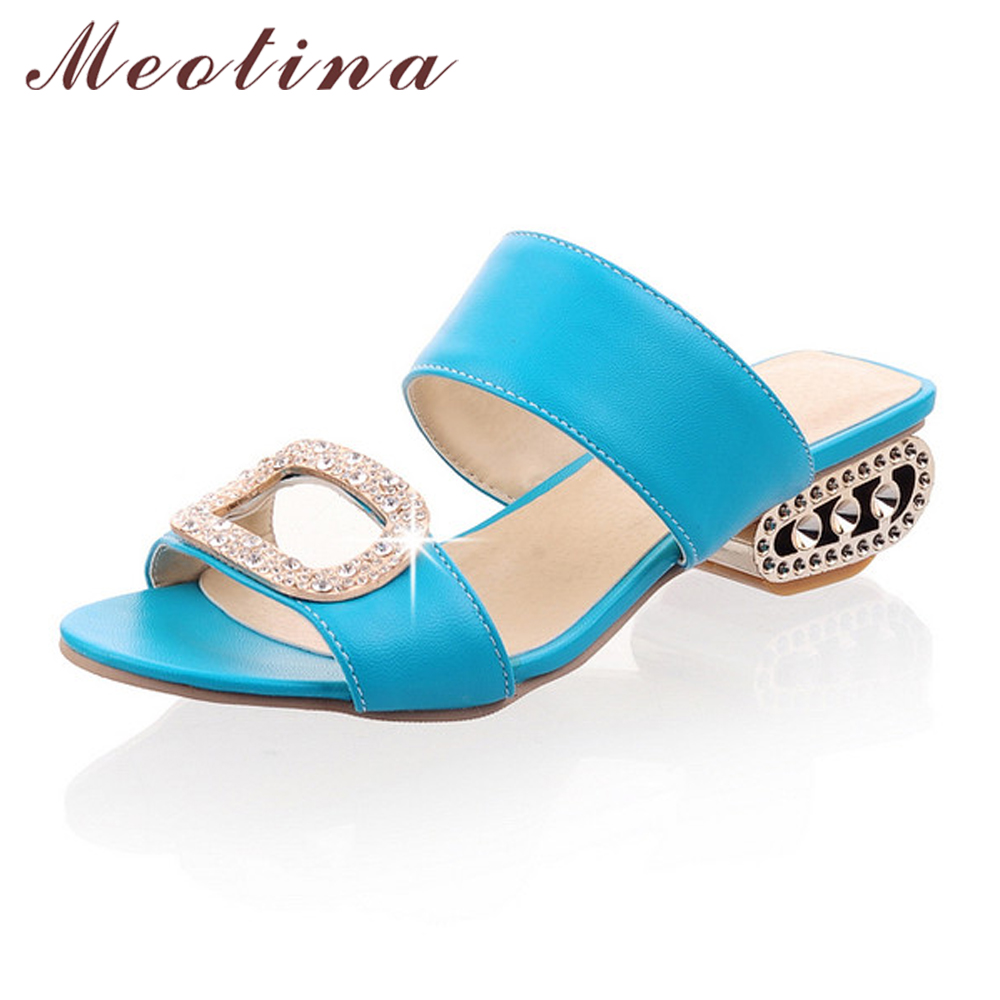 Meotina Shoes Women Summer Ladies Slippers Casual Low Heels Fashion Rhinestone Women Slides Orange Yellow Blue Big Size 9 10 43 lin king luxury rhinestone women flats slippers fashion crystal soft sole summer shoes ladies cool outdoor slides big size 42