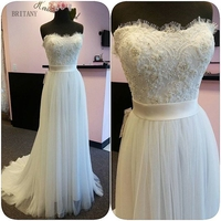 BRITNRY 2018 New Model Beach Tulle Wedding Dress Sweetheart Lace Beaded Wedding Gown
